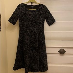 Land's End black and gray flocked dress